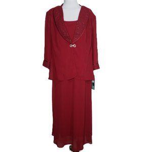NWT Dana Kay Deep Red 2 Piece Dress Jacket Set 16W